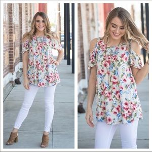 🔴 New Floral Cold shoulder tunic
